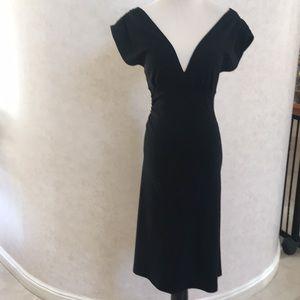 DVF Sexy Black Wool Dress  Deep V Front& Back. 2